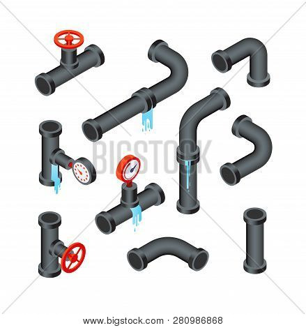 Broken Pipes. Leaking Water Pipeline Tubes. Leakage Plumbing System 3d Isometric Vector Isolated Set