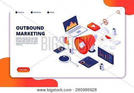 Outbound Marketing. Seo Pr Roi Crm Online Communication. Social Media Promotion Landing Vector Webpa