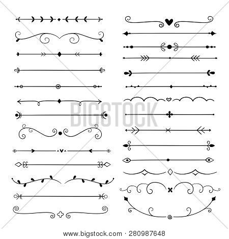 Hand Drawn Dividers. Line Design Elements Vintage Borders. Calligraphic Ornate Decoration. Retro Div