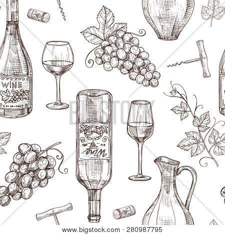 Sketch Wine Seamless Pattern. Wine Bottles Wineglass Corkscrew And Grape. Winery, Restaurant Vector