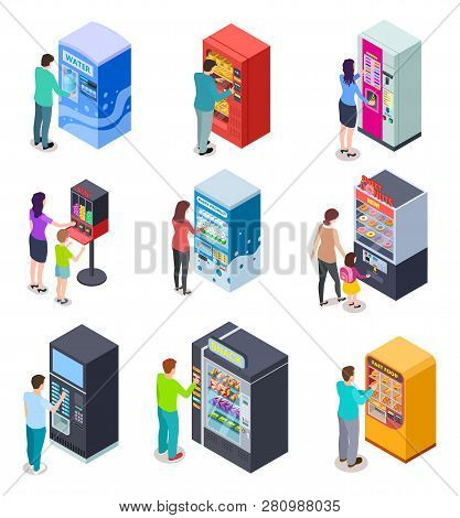 Isometric Vending Machine And People. Customers Buy Snacks, Soda Drinks And Tickets In Vending Machi