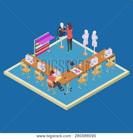 Coworking space for designers. Isometric atelier class vector concept. Illustration of atelier with dressmaker, studio of workshop poster