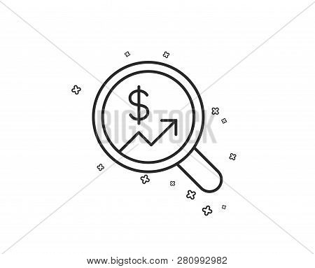 Business Audit Or Statistics Line Icon. Analytics With Charts Symbol. Search Magnifier Sign. Geometr