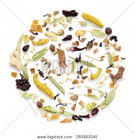 Herbal Tea, Dry Herbs And Flowers With Pieces Of Fruit And Berries. Top View.