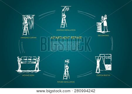 Apartment repair - hanging curtain, moving sofa, fixture installation, custom built-in, decorating, lighting installation vector concept set. Hand drawn sketch isolated illustration poster