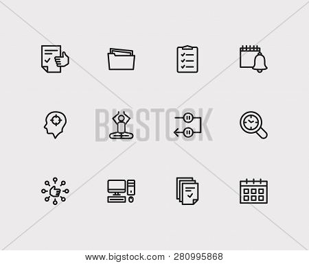 Task Icons Set. Mediate And Task Icons With Capability, Tasks And Group Tasks. Set Of Person For Web