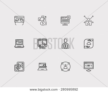 Seo Icons Set. Social Network And Seo Icons With Data Management, Monitor Performance And Mobile Seo