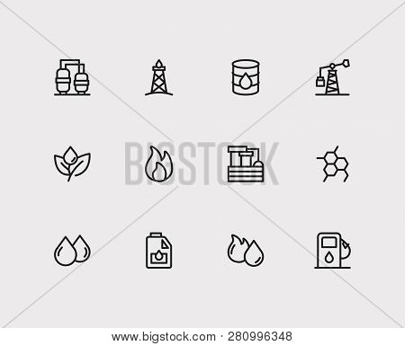 Petrol Icons Set. Plant And Petrol Icons With Chemistry Factory, Chemical Reaction And Oil Refinery.
