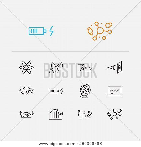 Physical Icons Set. Atomic Physics And Physical Icons With Geographic Globe, Solar System And Chargi