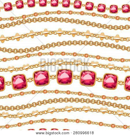 Assorted Golden Chains And Rubies On White Background Seamless Pattern. Good For Cover Card Banner L