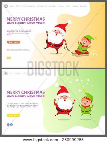 Merry Christmas And Happy New Year Santa Claus With Elf Vector. Winter Character With Helper Standin
