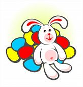 Cheerful bunny and easter eggs on a white background. Easter illustration. poster