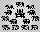 Bear family bundle: Mama, papa, baby, brother, sister, momma, daddy, grampy, grammy, uncle, auntie, nana, tater, paw. Hand drawn typography phrases with bear silhouettes. Vector illustration. poster