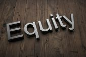 Equity - Text on table. 3d rendering poster