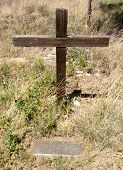 famous wooden cross grave site of Alex A. McSween, victom of the Lincoln County War poster
