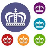 Monarchy crown icons set in flat circle red, blue and green color for web poster