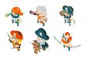 Corsair pirate ship crew buccaneer filibuster sea dog sailors fantasy RPG treasure game isometric characters flat design vector illustration poster