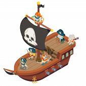 Pirate ship crew buccaneer filibuster corsair sea dog sailors captain fantasy RPG treasure game isometric flat design vector illustration poster