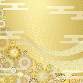 Gorgeous Japanese Background. Flower Ornament With Oriental Motifs, Wave Pattern, And Cloud.
