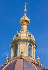 Golden dome of the Peter and Paul Cathedral. Saint-Petersburg, Russia