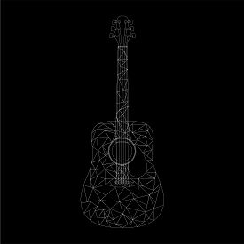 White Low Poly Acoustic Guitar On A Black Background