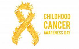 Background With Stylized Yellow Ribbon. World Childhood Cancer Awareness Symbol, Vector Illustration