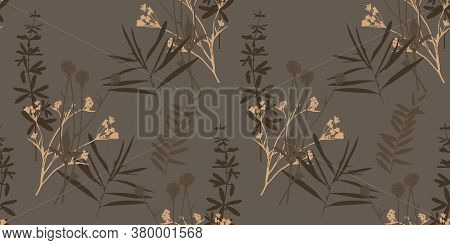 Vector Grass Pattern. Seamless Floral Background For Packaging, Textiles, Wallpaper. Hand-drawn Vect
