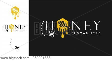 Vector Honey And Bee Logo, Honey And Bee, Honeycomb, Hive Logo Or Insignia, Emblems, Labels And Badg