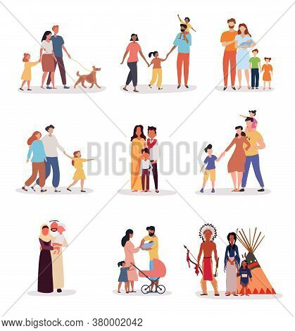 Heterosexual Families Of Different Ethnicity With Nine Different Groups Of Parents And Kids On White