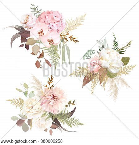 Luxurious Beige Trendy Vector Design Floral Bouquets. Pastel Pink Rose, Creamy Peony, Blush Hydrange