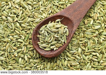 Saunf Or Fennel Seeds In Wooden Spoon, Top View