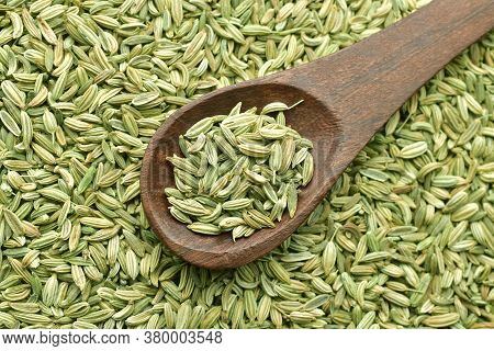 Top View Of Fennel Seeds, Saunf, Close-up, Macro