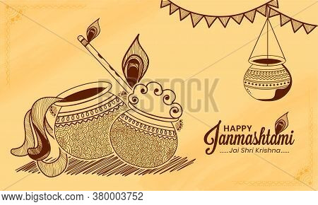 Hand Drawn Illustration Of Dahi Handi Celebration In Happy Janmashtami Festival Of India. Translatio