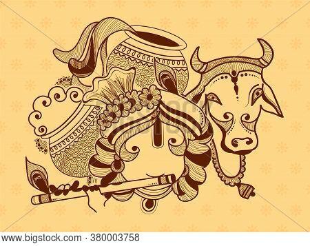 Illustration Of Lord Krishna, Cow And Dahi Handi Celebration In Happy Janmashtami Festival Of India.