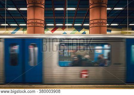 Lisbon, Portugal - February 2, 2019: Famous, Beautiful And Colorful Platform Of The Olaias Metro Sub
