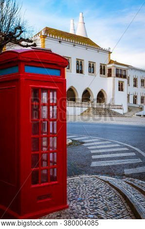 Main Square Of The Town Of Sintra, Near Lisbon (portugal), With A Red Classic Pay Phone Booth And Th