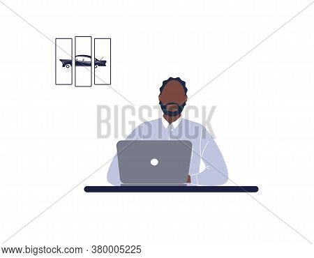 African-american Man Tutor Work On Laptop.remote Work, Distance Learning Or Online Training During T