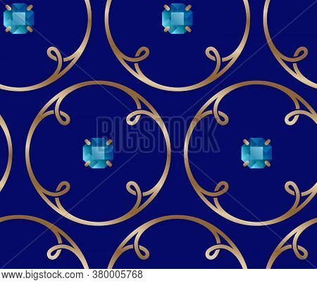 Seamless Pattern. Golden Rings With Loops And Blue Gem Stones. Interweaving Rings. Design Of Fabric.