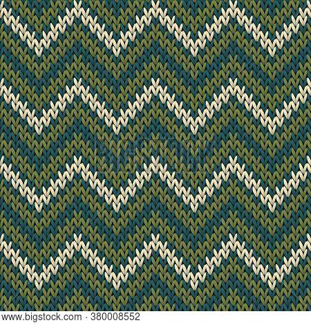 Woven Chevron Stripes Christmas Knit Geometric Vector Seamless. Fair Isle Sweater Knitwear Structure