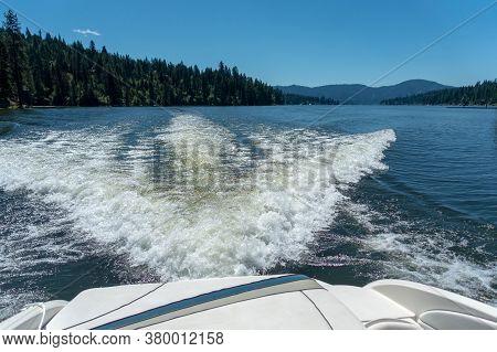 Boating And Exploring At Hayden Lake In Idaho State Near Spokane Washington