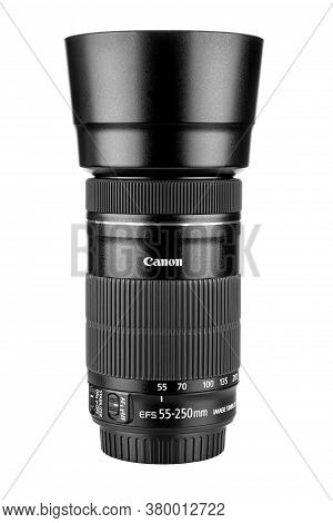 Moscow, Russia - July 18, 2020: Canon Ef-s 55-250 Mm Lens With Lens Hood Isolated On White Backgroun