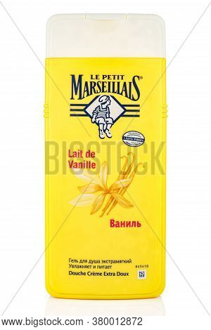 Moscow, Russia - July 22, 2020: Le Petit Marseillais Vanilla Shower Gel Extra Soft In A Yellow Plast