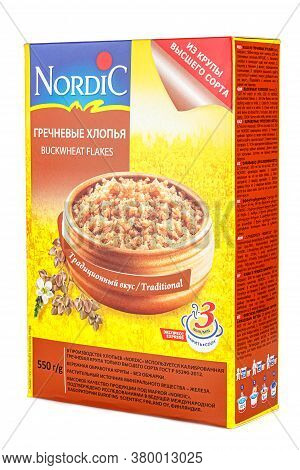 Moscow, Russia - July 28, 2020: Nordic Traditional Buckwheat Flakes In A Carton Retail Pack Isolated