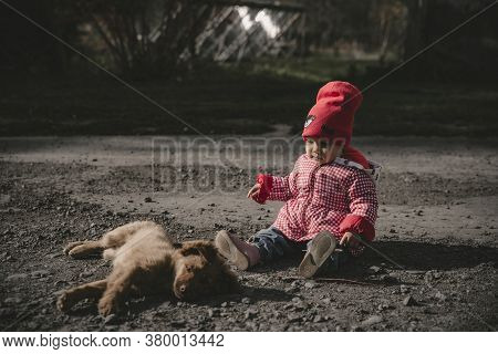 Baby Girl Is Playing With A Puppy