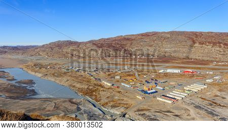 Kangerlussuaq Greenlandic Town Aerial View On The Living Blocks And Runway Of The Airport, Greenland