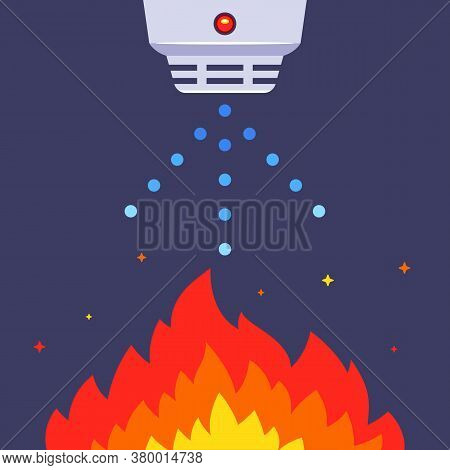 Indoor Smoke Detector. Put Out The Fire With Water. Flat Vector Illustration.