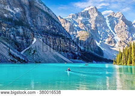 Boating On Moraine Lake In The Canadian Rocky Mountains
