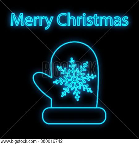 Mitten Neon Icon. Glowing Christmas Winter Holiday Icon Sign.