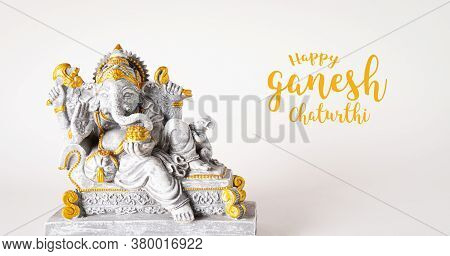 Happy Ganesh Chaturthi Festival, Lord Ganesha Statue With Beautiful Texture On White Background, Gan