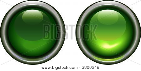 Green On Off Buttons In A Metallic Rim